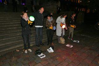 Guerilla Lighting in Aktion mit den Gästen der Lichtwoche...